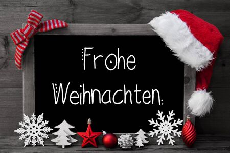 Chalkboard, Decoration, Ball, Tree, Frohe Weihnachten Mean Merry Christmas