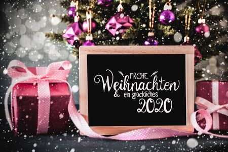 Christmas Tree, Pink Gift, Bokeh, Glueckliches 2020 Means Happy 2020, Ball