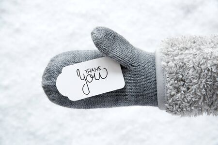 Label With English Calligraphy Thank You. Gray Glove With Snow Background