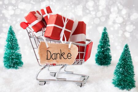 Shopping Cart With Gifts And Label WIth German Calligraphy Danke Means Thank You. Green Christmas Tree And Snow