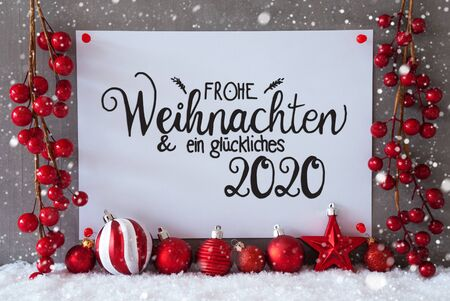 White Paper Sign With German Text Frohe Weihnachten Und Ein Glueckliches 2020 Means Merry Christmas And Happy 2020. Gray Cement Background With Snow And Snowflakes. Red Christmas Decoration Like Balls