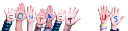 Children Hands Building Word Contact Us, Isolated Background