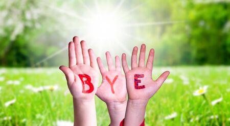 Dzieci Ręce Budynku Kolorowe Słowo Bye. Zielona Trawa Łąka Jako Tło