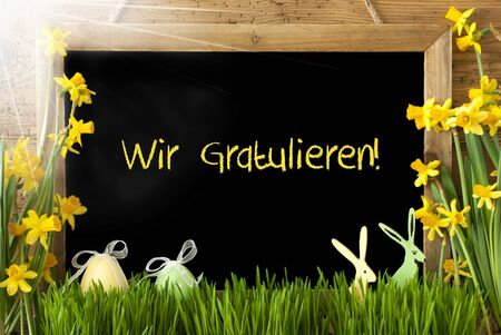 Blackboard With German Text Wir Gratulieren Means Congratulations. Sunny Spring Flowers Nacissus Or Daffodil With Grass, Easter Egg And Bunny. Rustic Aged Wooden Background.