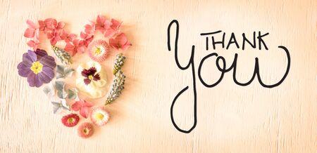 Nostalgic Spring Flower Blossoms Heart, Calligraphy Thank You Reklamní fotografie