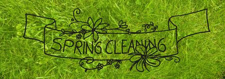 English Calligraphy And Illustration Spring Cleaning. Green Grass Lawn Or Meadow. Top View