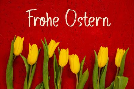 Red Wooden Background With German Text Frohe Ostern Means Happy Easter. Yellow Tulip Flowers In Spring Season Imagens