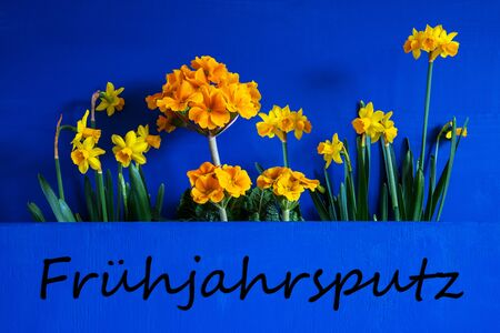 German Text Fruehjahrsputz Means Spring Cleaning. Yellow Beautiful Spring Flowers Like Narcissus. Blue Wooden Background