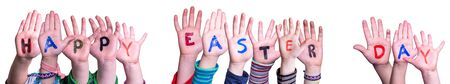 Children Hands Building Colorful Word Happy Easter Day. Isolated White Background Imagens