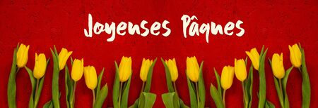 Red Wooden Background With French Text Jaqeuses Paques Means Happy Easter. Banner Of Yellow Tulip Flowers In Spring Season