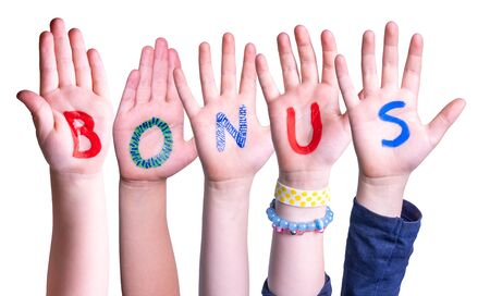 Children Hands Building Colorful Word Bonus. White Isolated Background