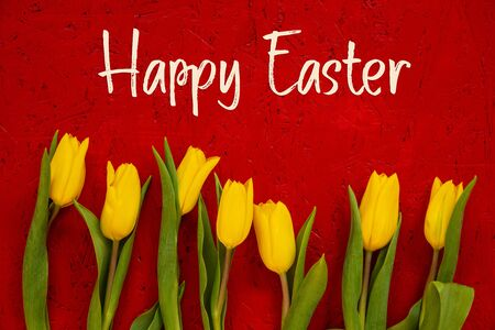 Red Wooden Background With English Text Happy Easter. Yellow Tulip Flowers In Spring Season