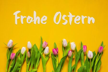 German Text Frohe Ostern Means Happy Easter. White And Pink Tulip Spring Flowers. Yellow Wooden Background