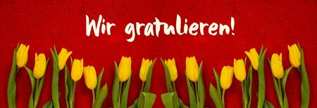 Baner Of Yellow Tulip, Red Background, Wir Gratulieren Means Congratulations