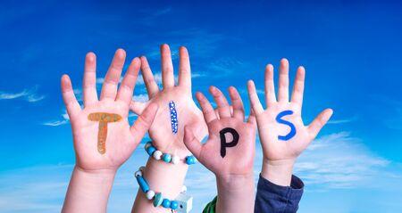 Children Hands Building Word Tips, Blue Sky