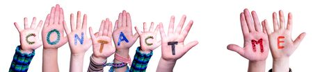 Children Hands Building Colorful Word Contact Me. White Isolated Background