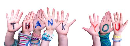Children Hands Building Word Thank You, Isolated Background Stock Photo