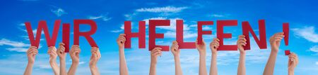 People Hands Holding Word Wir Helfen Means We Help, Blue Sky