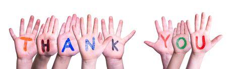 Beaucoup d'enfants mains bâtiment mot Merci, fond isolé