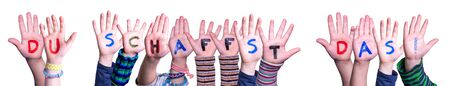 Children Hands Building Du Schaffst Das Means You Can Do It, Isolated Background
