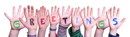 Children Hands Building Word Greetings, Isolated Background