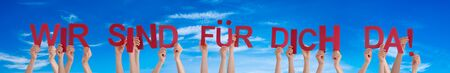 People Hands Holding Wir Sind Fuer Dich Da Means We Are Here For You, Blue Sky