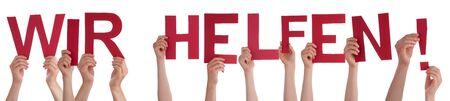 People Hands Holding Word Wir Helfen Means We Help, Isolated Background Zdjęcie Seryjne