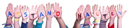 Children Hands Building Abstand Halten Means Keep Distance, Isolated Background 写真素材