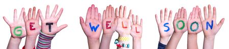 Children Hands Building Word Get Well Soon, Isolated Background