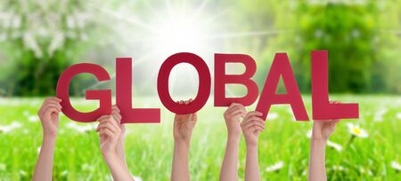 People Hands Holding Colorful English Word Global. Sunny Green Grass Meadow As Background