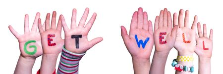 Children Hands Building Word Get Well, Isolated Background