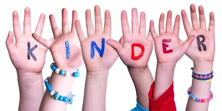 Children Hands Building Word Kinder Means Kids, Isolated Background