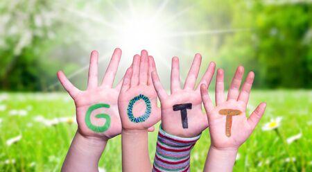 Children Hands Building Word Gott Means God, Grass Meadow