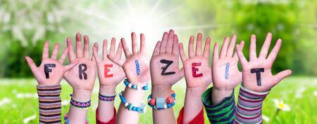 Children Hands Building Word Freizeit Means Leisure, Grass Meadow