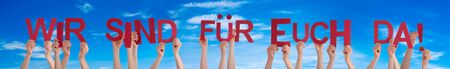 People Hands Holding Wir Sind Fuer Euch Da Means We Are Here For You, Blue Sky