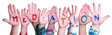 Children Hands Building Colorful English Word Mediation. White Isolated Background