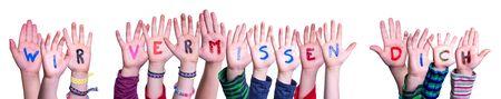 Children Hands Building Wir Vermissen Dich Mean We Miss You, Isolated Background