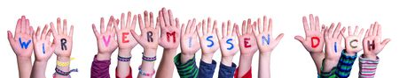 Children Hands Building Wir Vermissen Dich Mean We Miss You, Isolated Background
