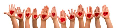Many Kids Hands Showing Red Heart Symbols And Smileys. Isolated White Background