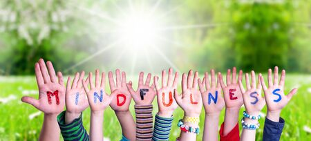 Children Hands Building Word Mindfulness, Grass Meadow