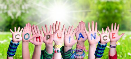 Children Hands Building Word Compliance, Grass Meadow Stok Fotoğraf