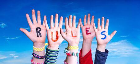 Children Hands Building Word Rules, Blue Sky