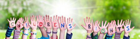 Children Hands Building Word Children Rights, Grass Meadow