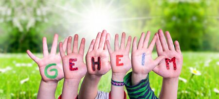 Children Hands Building Colorful German Word Geheim Means Secret. Sunny Green Grass Meadow As Background Фото со стока
