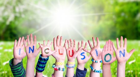 Children Hands Building Word Inclusion, Grass Meadow