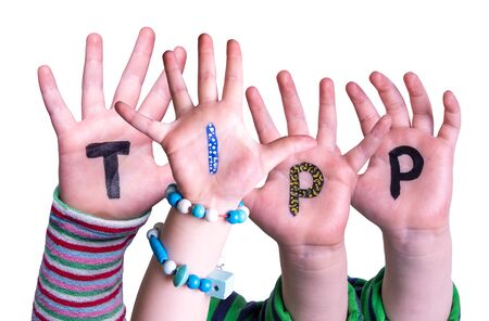 Children Hands Building Word Tipp Means Tip, Isolated Background