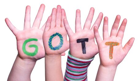 Children Hands Building Word Gott Means God, Isolated Background