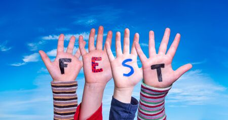 Children Hands Building Word Fest Means Celebration, Blue Sky