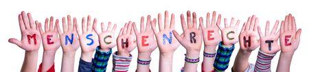 Children Hands Building Menschenrechte Means Human Rights, Isolated Background