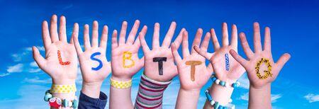 Children Hands Building Word LSBTTIQ Means LSBTQ, Blue Sky
